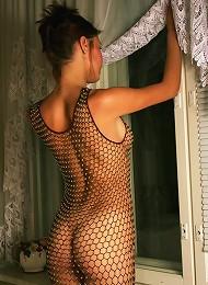 Beautiful Nude Girl Posing In A Fishnet Dress Teen Porn Pix