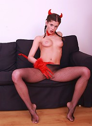 Little Caprice In Devil Costume & Black Fishnets Teen Porn Pix
