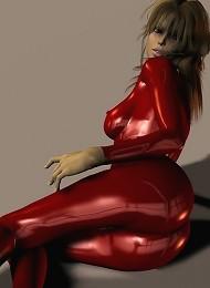 Cute Brunette In Red PVC Poses In 3d Teen Porn Pix