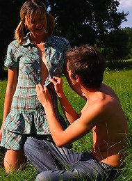 The Soft Green Grass Is The Bed For These Horny Teens Today. They Use It Like A Bed In The Bedroom, A Perfect Place For Their Sexual Desires To Be Unl Teen Porn Pix