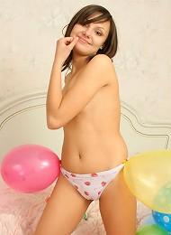 Cute Brunette In Her Bedroom With Some Balloons Teen Porn Pix