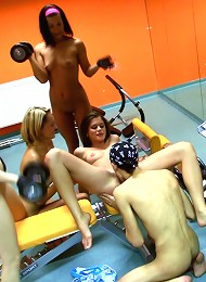 4 Schoolgirls Play With Cock During Work-out Teen Porn Pix
