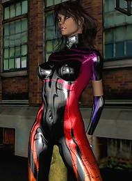 Ultra Colorful Pvc Bodysuit On Brunette In 3d! Teen Porn Pix